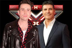 Simon Cowell with Nick Grmishaw on the X Factor
