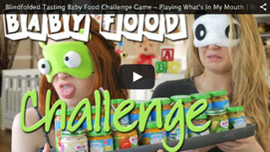 Blindfolded Tasting Baby Food Challenge Game - Playing What's In My Mouth