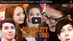 Playing the Celebrity Rhyme Time Game - Nia vs Liv