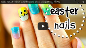 Easter Nail Art Tutorial, Easter Chick and Ombre Sponged Nails