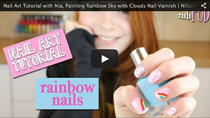 Nail Art Tutorial With Nia, Painting a Rainbow Design with Pink Sky and Clouds