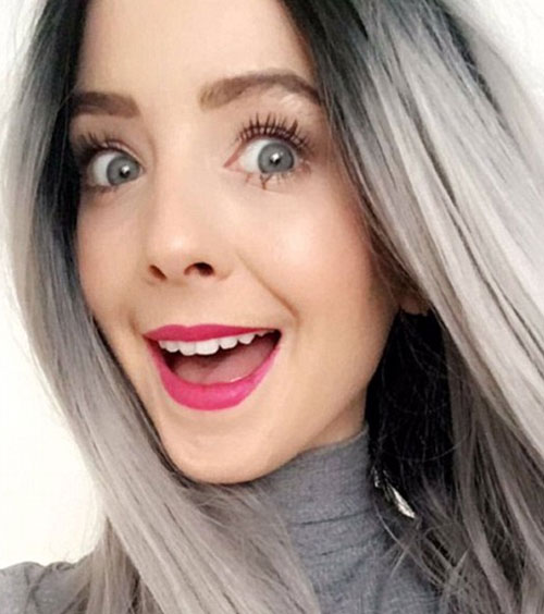 Photo of Zoella with grey hair