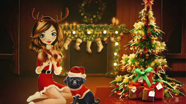 Photo of cartoon Zoella by Christmas fireplace in Vlogmas video