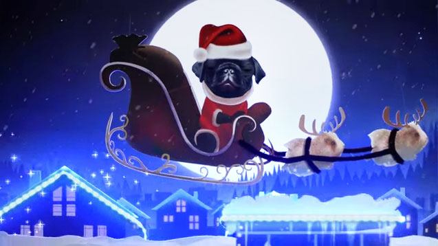 Further picture of Zoella's Vlogmas, with Nala the pug dog as a reindeer